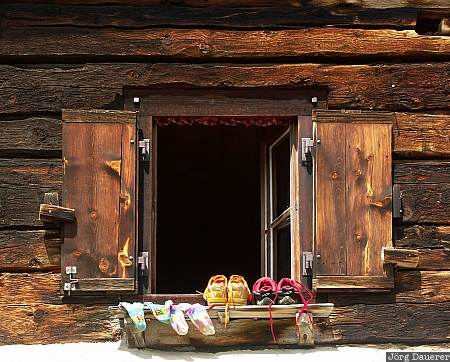 Switzerland, Graubünden, Grevasalvas, shoe, shoes, shutters, window