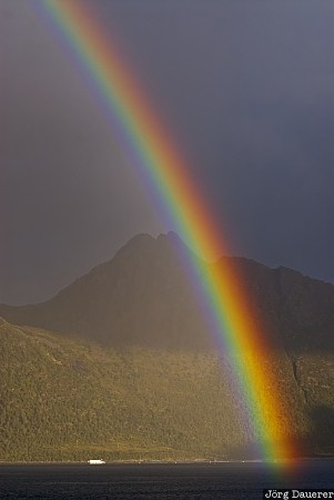 Botnhamn, Innergard, melfjord, mountains, Norway, Rainbow, senja