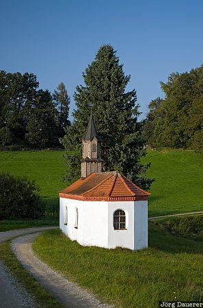 Germany, Reischach, Waldberg, Bavaria, blue sky, chapel, church, Perseis, Deutschland, Bayern