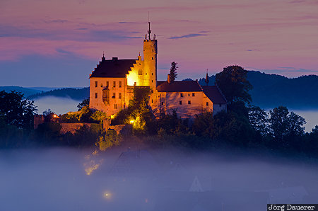 Bavaria, blue hour, Burg Gößweinstein, evening light, flood-lit, fog, Gößweinstein Castle, Germany, Gößweinstein, Deutschland, Bayern, Goessweinstein