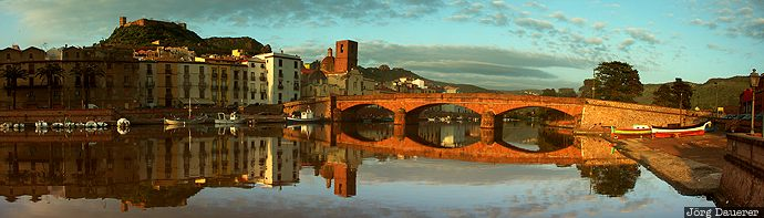 Bosa Bridge, Bosa, bridge, Castello Malaspina, castle, clouds, evening light, ITA, Italy, Ponte Vecchio