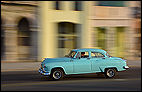 Centro Habana, CUB, Cuba, La Habana, Classic Car, evening light, green, Malecón, motion, move