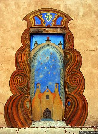 Santa Fe, adobe, door, New Mexico, painting, United States, Neu Mexiko