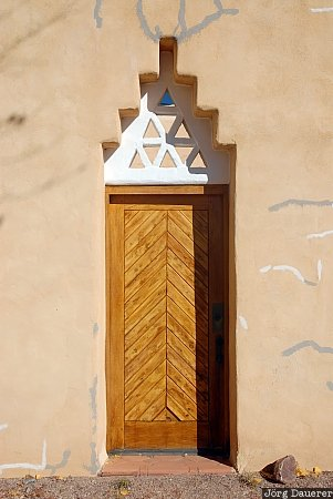 Abiquiu, adobe, blue sky, Dar al Islam, door, mosque, New Mexico