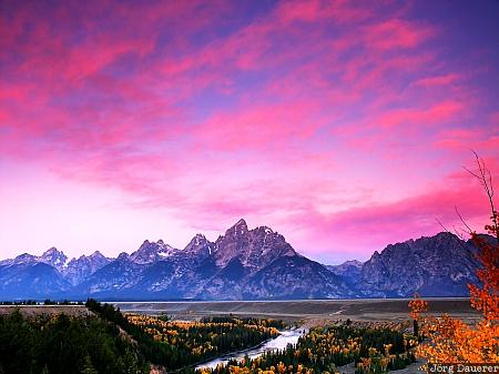 morning, clouds, Snake River Overlook, Grand Teton National Park, Wyoming, United States, red clouds